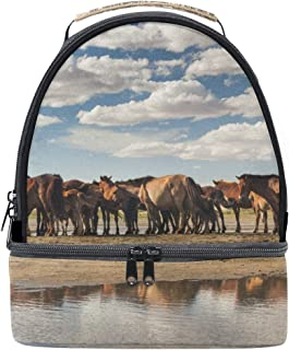 Mydaily Kids Lunch Box Herd of Horses Cloudy Sky Reusable Insulated School Lunch Tote Bag
