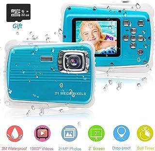 PROACC Cámara Impermeable para niños Digital Mini Cámara FHD1080P con Zoom Digital de 8X / 21MP / 2 TFT LCD/32 GB Micro SD cámara Infantil Impermeable 3m