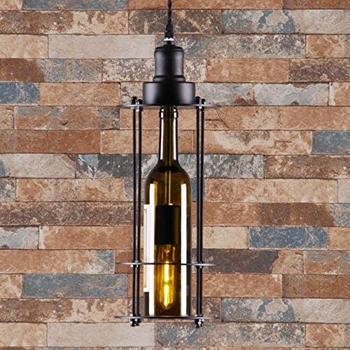 Vintage hanglamp hanglamp hanglamp hanglamp hanglamp glas wijnfles lampenkap retro hanger kroonluchter, E27, in hoogte verstelbaar voor eetkamer eettafel hal woonkamer café
