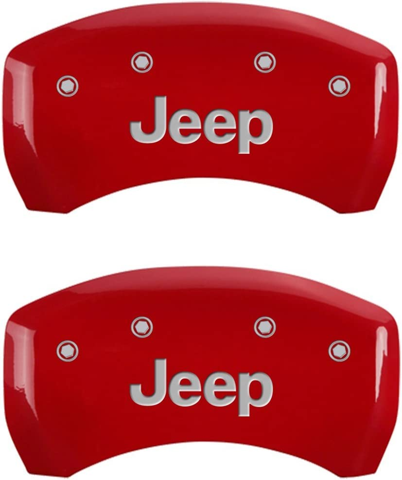 MGP Caliper Covers 42012SJEPRD Red Powder Coat Finish Front and Rear Caliper Cover JEEP Silver Characters, Engraved Set of 4