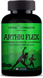 ArthriFlex - Glucosamine Chondroitin Sulfate Ashwagandha - Joint Supplement with Hyaluronic Acid for Extra Strength Relief - Natural Health & Mobility Support for Pain, Aches & Soreness - 120 Capsule