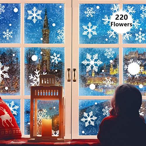 Alintor 220 Fensterbilder Weihnachten, Weihnachtsdeko Fenster PVC Kein Kleber Aufkleber, Schneeflocken Fensterbild Selbstklebend Abnehmbare Fensterdeko Deko Weihnachten Winter Dekoration