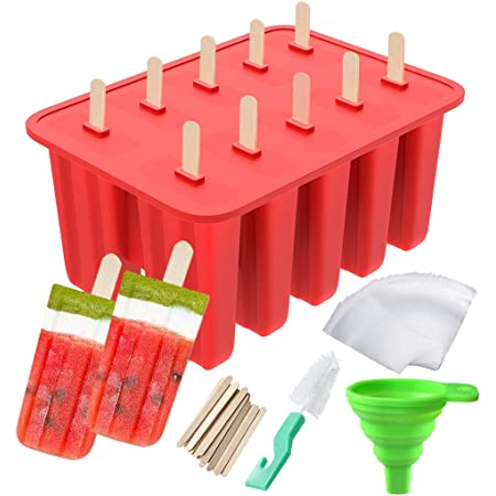 Popsicle Molds, Ouddy 10-Cavity Popsicle Maker Silicone Homemade Ice Pop Molds with 50 Popsicle Sticks, 50 Popsicle Bags, Silicone Funnel & Cleaning Brush (10 Cavities)