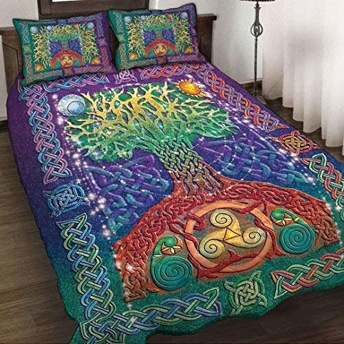 Celtic Tree of Life Quilt Bedsets - Unique 3D Design, Suitable for All Seasons with Mellow Material Comfortable and Luxurious.