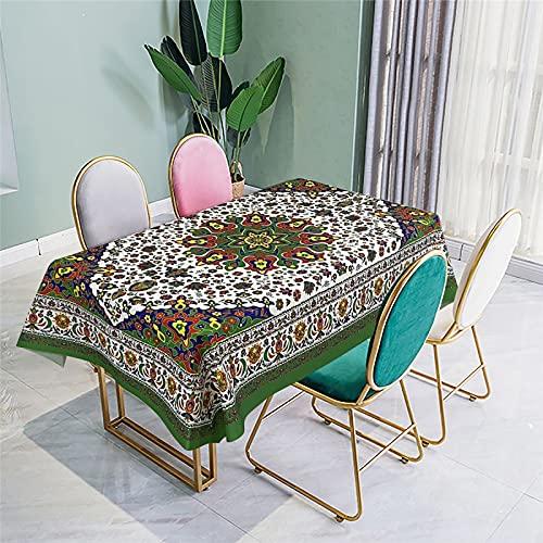 Tovaglia in Tessuto Impermeabile E Antiappannamento in Stile Nazionale Tovaglia da Pranzo Stampa Digitale Tovaglia Tavolino Tavolino da Pranzo Tavolino da Esterno 140x140cm(WxH) G