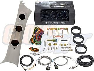 GlowShift Diesel Gauge Package for 2010-2018 Dodge Ram Cummins 1500 2500 3500 - Tinted 7 Color 60 PSI Boost, 1500 F Pyrometer EGT & Transmission Temp Gauges - Factory Color Matched Triple Pillar Pod