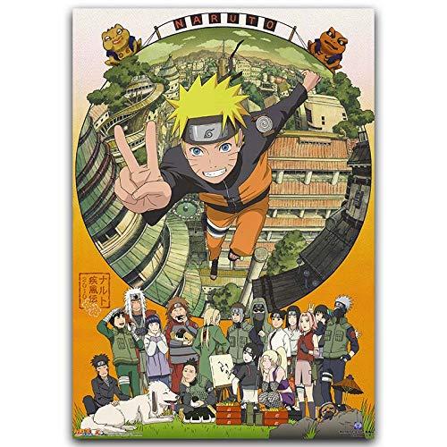 zhuziji DIY Pintar por números Naruto Art Picture Animación Japonesa Pintar por numeros Gato con Pincel y Pintura acrílica Pintura al óleo Kits de Lienzo Pintura para a50x70cm(Sin Marco)