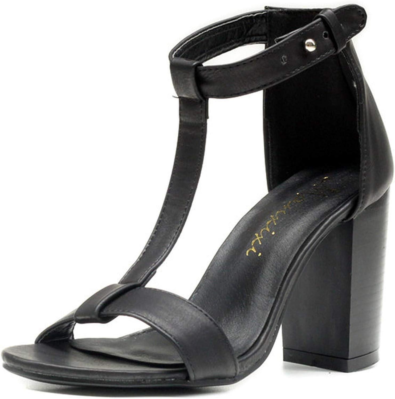 HANBINGPO Women's Sandals Summer 2019 Pu T-Strap Women High Heels Sandals shoes for Women Plus Size 40