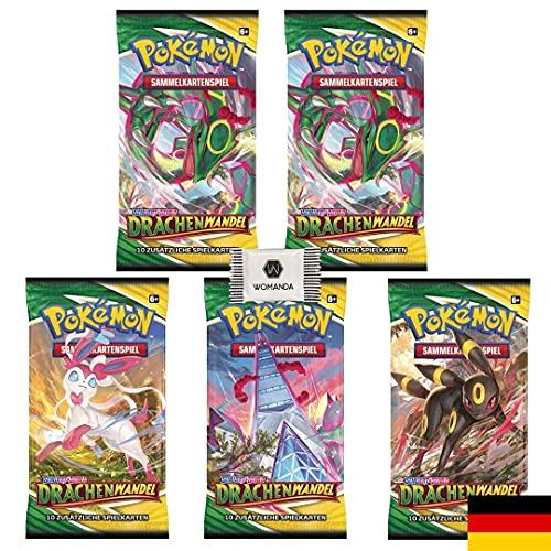 Pokemon TCG Drachenwandel 5 Booster Packs - Deutsch inkl. Womanda Dextro Energy