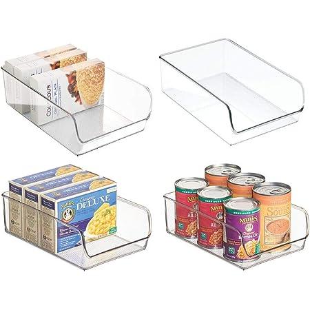 mDesign bac de rangement pratique (lot de 4) – bac alimentaire en plastique pour canettes, conserves, etc. – organiseur de cuisine pour placard de cuisine, réfrigérateur ou congélateur – transparent