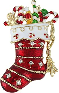 Austrian Crystal Lovely Red Santa Stocking Candy Cane Brooch