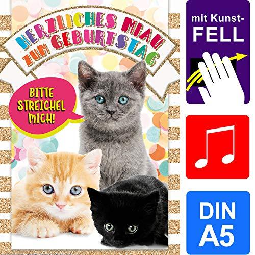 bentino Geburtstagskarte für Kinder mit Kunstfell zum STREICHELN, DIN A5 Set mit Umschlag, bei jedem Streicheln hörst Du ein Katzen-