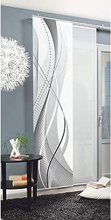 Home Fashion 87152 Carlisle - Panel japonés con impresión Digital (con rieles y sujeciones, 245 x 60 cm), poliéster, Gris, 245 x 60 cm