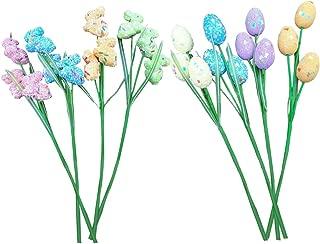 Forgun 6Pcs Easter Egg Rabbit Bunny Picks Pastel Glitter Foam Floral Home Craft Decor