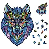 Yeasica Wooden Puzzles for Adults – Artifact Puzzle Irregular Shape Super Fun Inspired by Wolf King 8.15X 6.3 in (20.7x16 cm) 100pcs Small