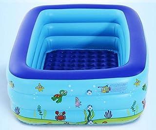 RÁPIDO Configuración de colocación Simple Centro de natación Salón Familiar Rectangular Familia Juguetes para niños 130 * 90 * 45 cm Piscina Cuadrada Inflable Ocean Ball Play Remar con Bomba