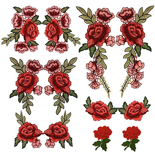 Prohouse 12PCS(6 Pairs) Embroidery Lace Flower Fabric Applique Sew on Patches Embroidered Patch DIY for clothings,jeans