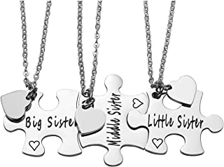"JOVIVI Silver ""Always Sisters Forever Friends"" Jigsaw Puzzle Piece Pendant Best Friends Necklaces BBF Friendship Keychain"