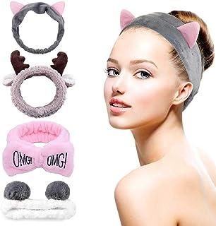 G&T Spa Headband, 4 Pack Cute Headbands for Washing Face, Coral Fleece Makeup Headband, Bow Headbands for Shower Terry Clo...
