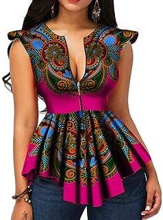VERWIN African Color Block Zipper Sleeveless Women's Blouse Fashion Asymmetric Print Women's Top Shirt
