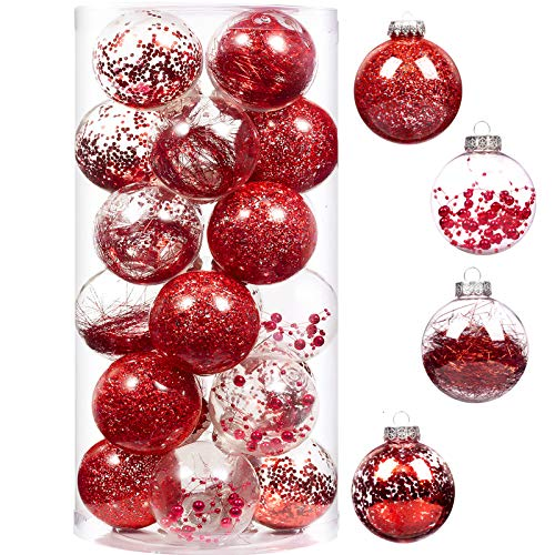 XmasExp Red Christmas Ball Ornaments Shatterproof, Plastic Ball Decoration Set Baubles Stuffed Delicate Glittering Ornaments for Holiday Wedding Party Decoration (24ct 70mm/2.76')