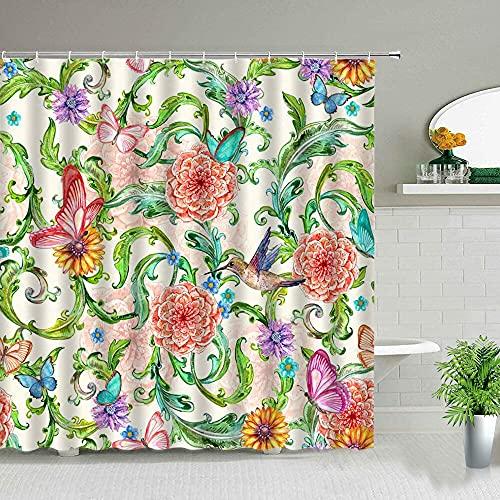 XCBN Rosa ros blomma duschdraperi växt blad landskap tryck vattentät badrumsgardin med krok badkarsdekoration I 150 x 180 cm