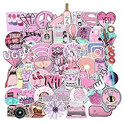 Water Bottles Stickers 53PCS Cute Pink Stickers Waterproof Trendy Decal Stickers for Teens Girls Perfect for Luggage Laptop Computer Phone Travel Case