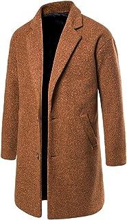Autunno Inverno Uomo Formale Singolo Breasted Lavoro Cappotto Giacca di Lana Lungo Giacca con Bottoni Monopetto – Collo Re...