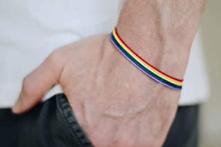 Pride bracelet, rainbow flag colors, LGBT string bracelet for men, men`s bracelet, strand only, gay, gift for him, no charm, mens jewelry