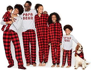 Matching Family Christmas Boys Girls Pajamas Papa Bear Letter Plaid Kids Sleepwear Children Clothes