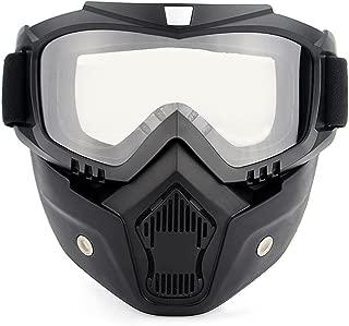 Lixada Motos Gafas UVA400 Protección Invierno Esquí Gafas de Montar Patinaje Gafas Deportivas con Máscara Desmontable (1, Tranparente)