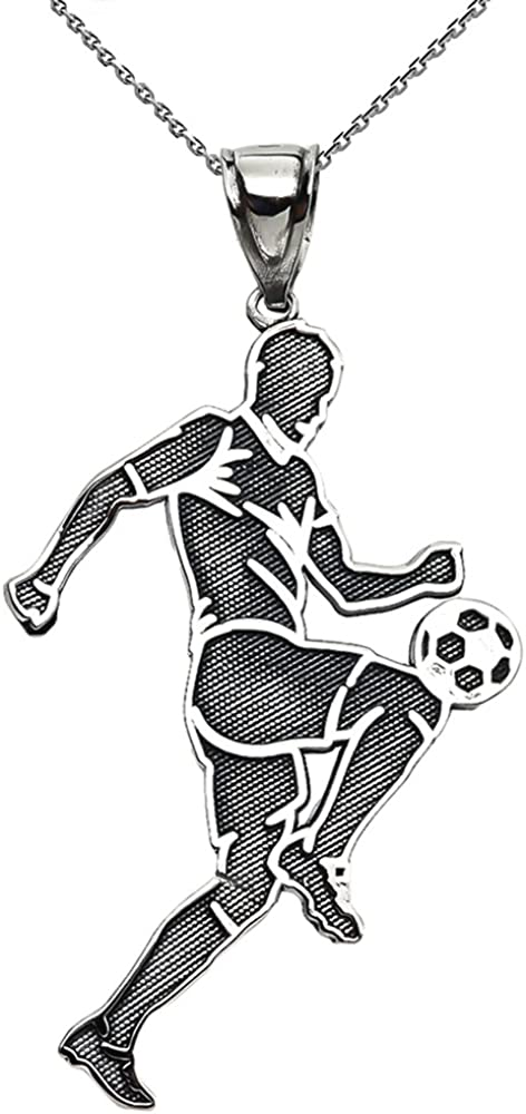 Soccer Player Sports Sterling Necklace 商い Silver Pendant 現金特価