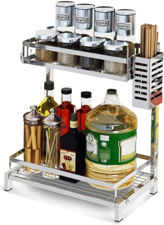 Stainless Steel Kitchen Racks Floor Seasoning Spice Rack Supplies Knife Rack Multi-Layer Oil Salt Sauce Vinegar zbbSwza