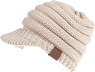 Women's Warm Chunky Cable Knit Messy Bun Hat Ponytail Visor Beanie Cap