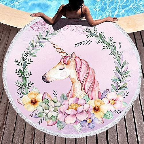 Yansion Unicornio Toalla de Playa Toalla de Microfibra Redonda más Grande Suave Digital Linda...