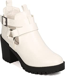 Women Leatherette Lug Sole Cut Out Buckle Chunky Heel Bootie GC73