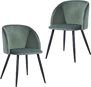 Mueble Cosy – Juego de 2 sillas de Oficina ergonómicas para niños y sin reposabrazos, Terciopelo Verde, Patas de Metal Negro, 56 x 58 x 82 cm
