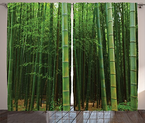 """Ambesonne Bamboo Curtains, Picture of a Bamboo Forest Exotic Fresh Jungle Vision with Tall Shoots Tropic Art Print, Living Room Bedroom Window Drapes 2 Panel Set, 108"""" X 84"""", Green"""