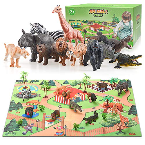 Animal Toys for Kids Age 3, Zoo Toys for 2 Year Old Toddlers Boy Gift for 3-5 Year Old Kid Girls Animal Figures for Toddlers Birthday Gifts for 4-12 Boys Jungle Animal Toy Set for 2 3 4 Baby Kids