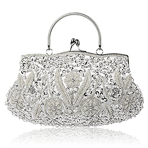 EROUGE Beaded Sequin Design Flower Evening Purse Large Clutch Bag (Silver)
