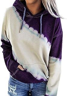 Pullover Shirt Women Long Sleeves Autumn Winter Tops Elegant Lightweight Hoodie Loose Tie-Dye Gradient Pockets Drawstring ...