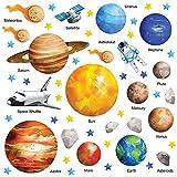 GET STICKING DECOR Educativo Sistema Solar, Espacio, Pegatinas De Pared/ Calcomanías Colección, WaterCSpace SSYS.2, Vinilo Removible Brillante, Multi Color. (Large)
