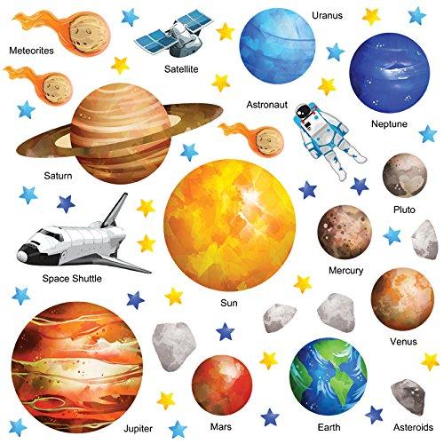 Das Ultimative Weltraum Sonnensystem Wandtattoo, Wandsticker GET STICKING DÉCOR Kollektion, Watercspace SSYS.2.L, Glänzend 70cm von 60cm Ultra-Removable Vinyl, 64-teiliges Set, Multi Farbe (Groß)