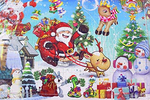OJIN 200 Piece Puzzle di Legno Merry Christmas Xmas Babbo Natale Early Children Development Puzzle Giocattoli di Legno Cartoon con Map Illustration And Frame (200 Pezzi)
