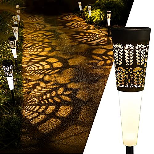 Solar Pathway Lights, EHO Solar Lights Outdoor Garden Decorative Waterproof, Up to 12 Hrs Solar Powered LED Landscape Lighting for Lawn, Patio, Yard, Walkway, Driveway(Warm White) 4Pack