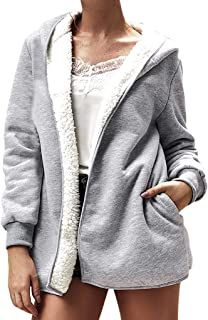 4Clovers Women's Casual Winter Warm Sherpa Lined Zip Up Hooded Sweatshirt Jacket Coat
