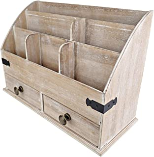$34 » 25DOL Mini-Hutch Large Wooden Desk Organizer with Drawers. Rustic Office Decor, Desk Accessories and Office Supplies. 6 Compartment Mail Organizer, File Organizer for Folders, Pen Holder and Drawers