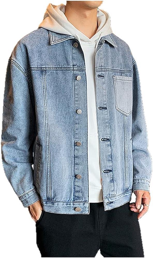 Jeans Men Autumn Streetwear Patch Turn Down Collar Denim Coat Black