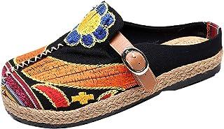 Mallimoda Femme Espadrilles Décontractée Brodé Chaussons en Toile Coloré Chaussures Plates