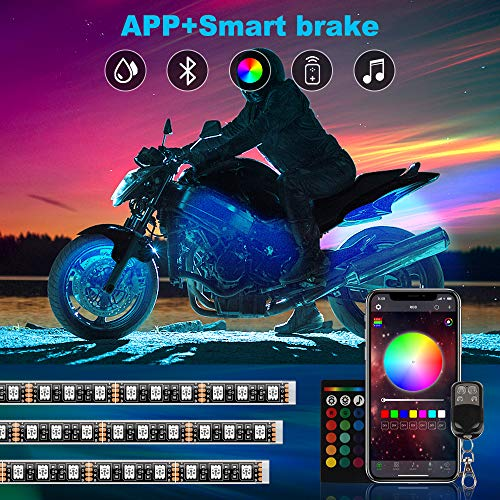 TACHICO 12pcs Motorcycle LED Lights Kits, APP Control RGB Smart Brake IP67 Waterproof Accent Glow Neon with Dual RF Remote Control for Harley Davidson Honda Kawasaki Suzuki